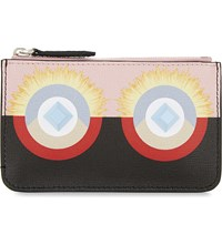 Fendi Mini Monster Leather Pouch Pink Black