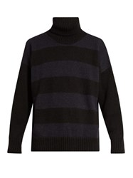 Ami Alexandre Mattiussi Oversized Roll Neck Striped Alpaca Blend Sweater Black Multi