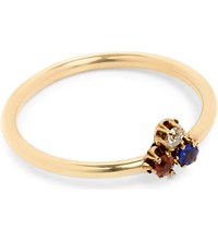 Annina Vogel 9Ct Yellow Gold Diamond Sapphire And Ruby Shamrock Ring