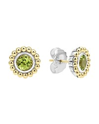 Lagos Sterling Silver And 18K Gold Stud Earrings With Peridot