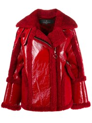 Nicole Benisti Montaigne Shearling Trimmed Jacket Red