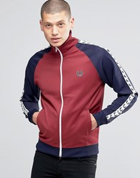 Fred Perry Track Jacket With Contrast Taped Sleeves In Maroon Maroon Red