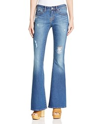 Jean Shop Stevie Destructed Flare Jeans In Medium Wash Mended