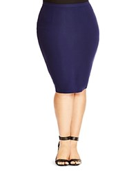 City Chic Body Con Ponte Skirt French Navy