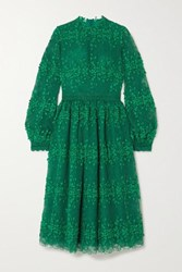 Costarellos Tasa Lace Trimmed Embroidered Tulle Dress Green