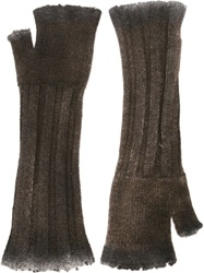 Avant Toi Fingerless Long Gloves Brown