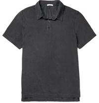 James Perse Slim Fit Supima Cotton Polo Shirt Charcoal