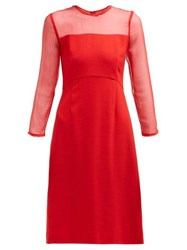 Goat Flavia Contrast Panel Wool Crepe Dress Red