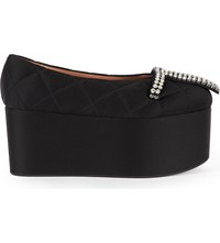 Marni Quilted Satin Wedge Sandals Black