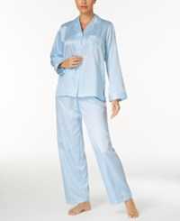 Miss Elaine Jacquard Dot Brushed Back Satin Pajama Set Blue Sky