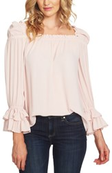 Cece Plus Size Square Neck Ruffle Blouse Faded Pink