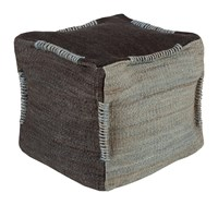 Surya Continental Cube Pouf Black Light Gray