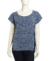 Nydj Cap Sleeve Brushed Stripe Print Blouse Navy