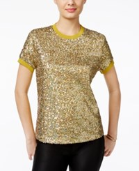 Guess Amberley Sequin Front T Shirt Mars Multi