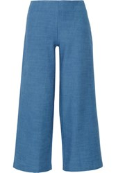 Solid And Striped The Side Zip Cotton Chambray Flared Pants Mid Denim