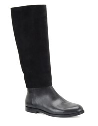 Carmen Marc Valvo Mackenzie Leather And Suede Tall Boots Black