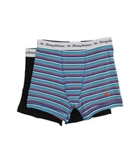 Tommy Bahama Stripe Stretch Cotton Comfort Boxer Briefs 2 Pack Tommy Blue Print Black Men's Underwear