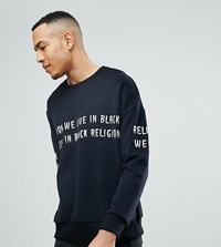 Religion Tall Dropped Shoulder Sweat With Embroidery Black