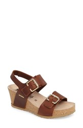 Mephisto Women's Lissandra Platform Wedge Sandal Chestnut Leather