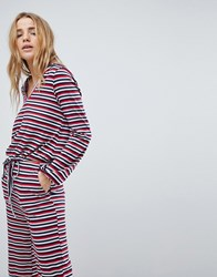 Honey Punch Long Sleeve Hooded Top In Stripe Co Ord Multi