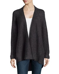 Line Knit High Low Cardigan Charcoal