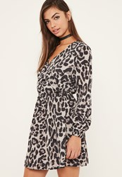 Missguided Snake Print Wrap Skater Dress Multi