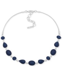 Nine West Silver Tone Stone Collar Necklace 16 2 Extender Blue