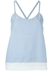 Jil Sander Navy Striped Cross Back Tank Top Blue