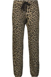 Current Elliott The Varsity Printed Cotton Track Pants Sand