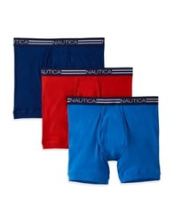 Nautica Three Pack Cotton Boxer Briefs Blue Red Navy