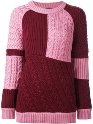 House Of Holland Oversized Patchwork Knit Jumper Pink And Purple