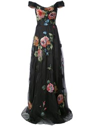 Marchesa Notte Floral Embroidered Off The Shoulder Gown Black