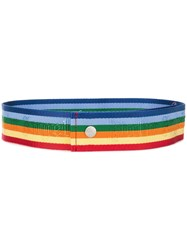 Palm Angels Striped Belt Yellow And Orange