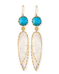 Lana Dream Spikes Classic Turquoise And Rainbow Moonstone Earrings Gold