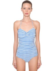 Ganni Seersucker One Piece Swimsuit Blue White