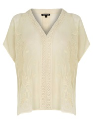 Warehouse Embroidered Kaftan Top Cream
