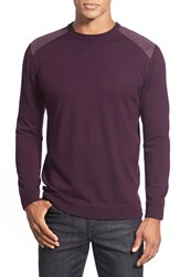 Men's Bugatchi Merino Wool Crewneck Sweater Plum