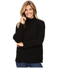 Vince Camuto Long Sleeve Turtleneck Ribbed Sweater Rich Black Women's Sweater