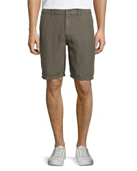 John Varvatos Triple Needle Linen Shorts Olive Green Women's