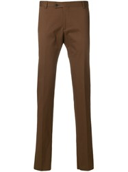 Tonello Creased Slim Fit Trousers Brown