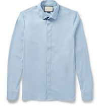 Gucci Slim Fit Penny Collar Cotton Blend Poplin Shirt Blue