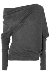Tom Ford One Shoulder Cashmere And Silk Blend Sweater Dark Gray Gbp