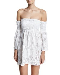 Milly Floral Crochet Off The Shoulder Smocked Coverup Mini Dress White
