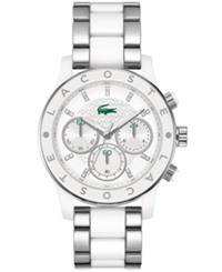 Lacoste Watch Women's Chronograph Charlotte White Tr90 Material And Stainless Steel Bracelet 40Mm 2000803