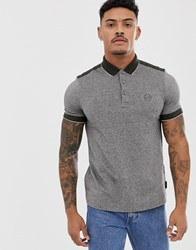 Armani Exchange Slim Fit Tipped Marl Logo Polo In Khaki Green