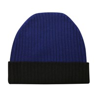Orwell Austen Cashmere Navy And Black Beanie Blue