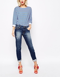 Vivienne Westwood Anglomania Jeans Girlfriend Jeans With Front Distressing Blue