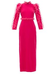 Givenchy Organza Ruffle Long Sleeve Velvet Gown Pink