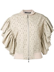Maurizio Pecoraro Ruffled Sleeves Jacket Brown