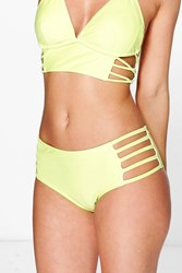 Boohoo Mix And Match Strappy Bikini Brief Lime